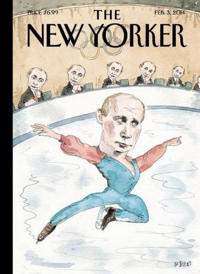 Иностранные издания ожидали Олимпиаду довольно злобно. Так, американский еженедельник The New Yorker разместил на обложке вот такую карикатуру.