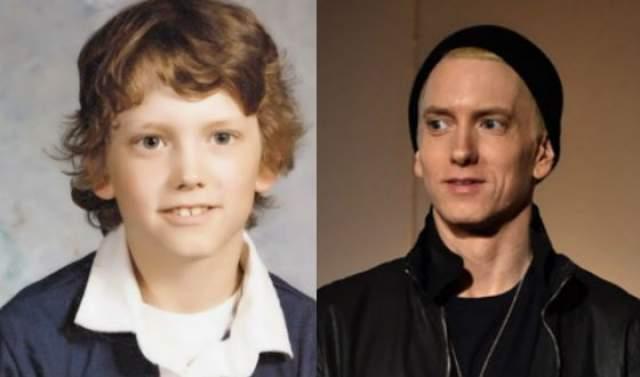 Эминем. Когда будущая звезда рэпа учился в младшей школе, над ним постоянно издевался мальчик по имени Бэйли. Однажды Эм кинул в Бэйли камнем, из-за чего тот получил сотрясение мозга и временно ослеп на один глаз.