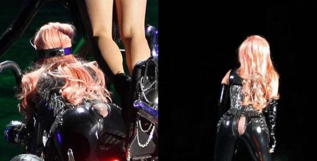 Леди Гага. Концерт певицы в Ванкувере обернулся конфузом: прямо во время выступления на ней лопнули латексные штаны.