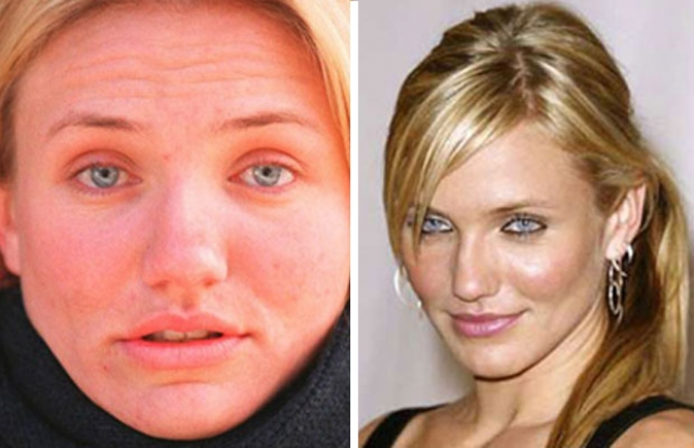 Камерон Диас. Актриса любит показывать свои фото без макияжа, но многие считают, что так она выглядит гораздо старше своих лет.