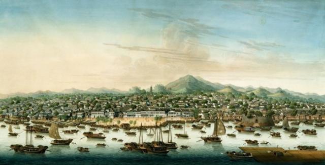 Даже императорский флот не смог победить маленькую армию пиратов. Чжэн Ши установила на судах строжайшую дисциплину: грабеж союзников и изнасилования пленных карались смертной казнью. На фото - вид на китайский город Кантон в 1800 году.