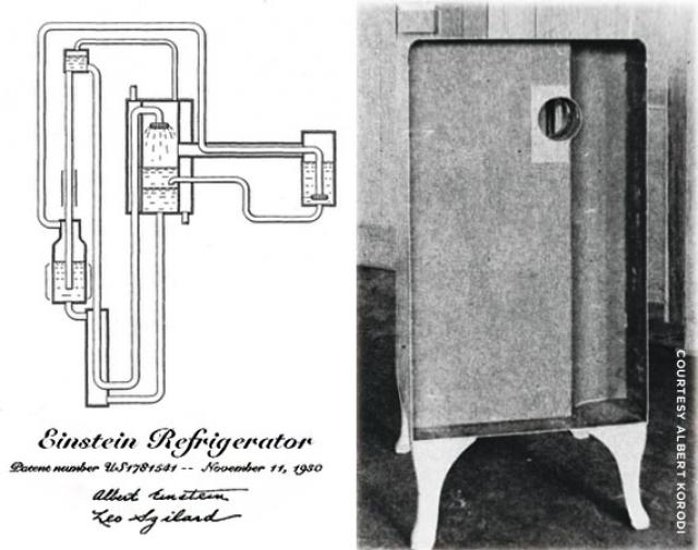 """После статьи в газете, что семья погибла из-за ядовитых испарений, вытекших из их холодильника, Альберт Эйнштейн и его бывший студент изобрели систему охлаждения без движущихся частей. Изобретение получило название """"Холодильник Эйнштейна""""."""