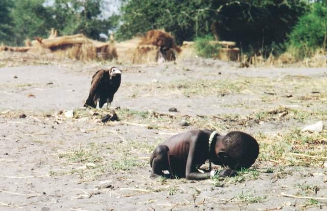 Голодающий ребёнок и стервятник, Кевин Картер, 1993.