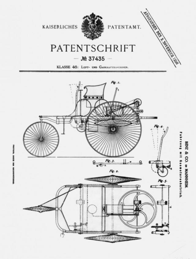 """29 января 1886 года, после того, как изобретение прошло многочисленные испытания и некоторые доработки, Motorwagen получил Германский Императорский патент как """"газоиспользующий автомобиль""""."""