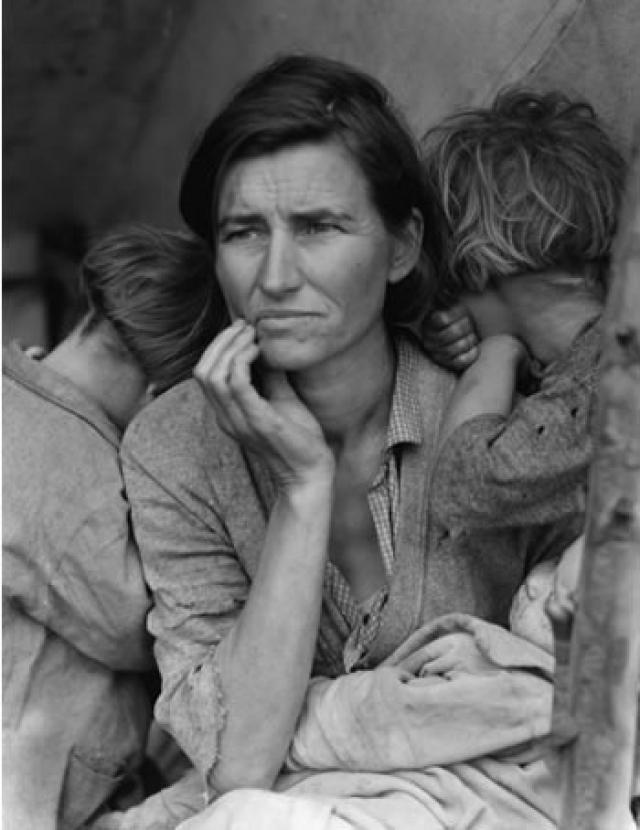 Благодаря легендарному фотографу Доротеи Ланж, на протяжении многих лет Флоренс Оуен Томпсон стала олицетворением Великой Депрессии. Ланж сделала снимок во время посещения лагеря сборщиков овощей в Калифорнии в феврале 1936 года, желая показать всему миру стойкость нации в тяжелые времена.