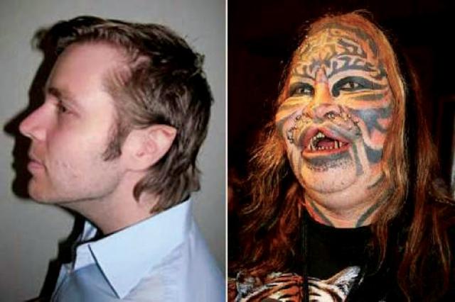 Дэнис Авнер - человек-кот. Дэнис подверг себя не только татуированию, но и серьезной хирургической операции для единственной цели: выглядеть как священное животное - кот.