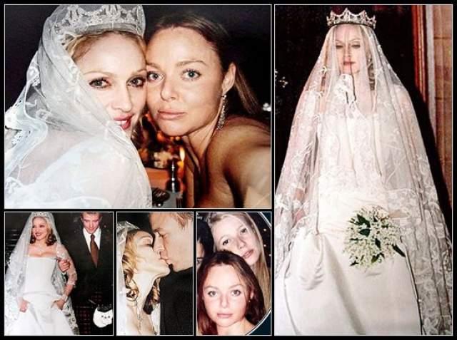 Мадонна пошла к алтарю в шелковом платье от Stella McCartney за $80 000, украсив прическу бриллиантовой диадемой, принадлежавшей принцессе Монако Грейс Келли.