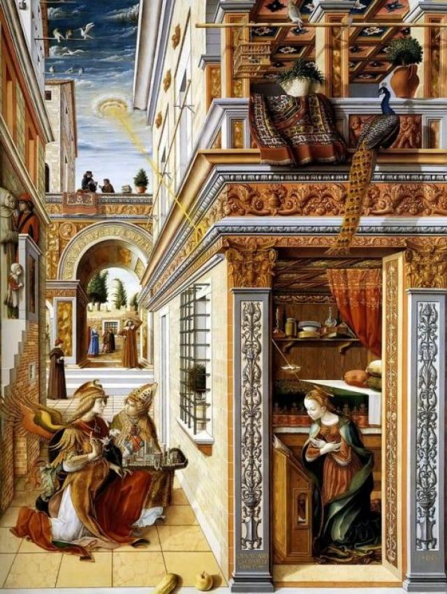 На картине Благовещение со Святым Эмидием Карло Кривелли светящийся диск направляет луч на голову Девы Марии.