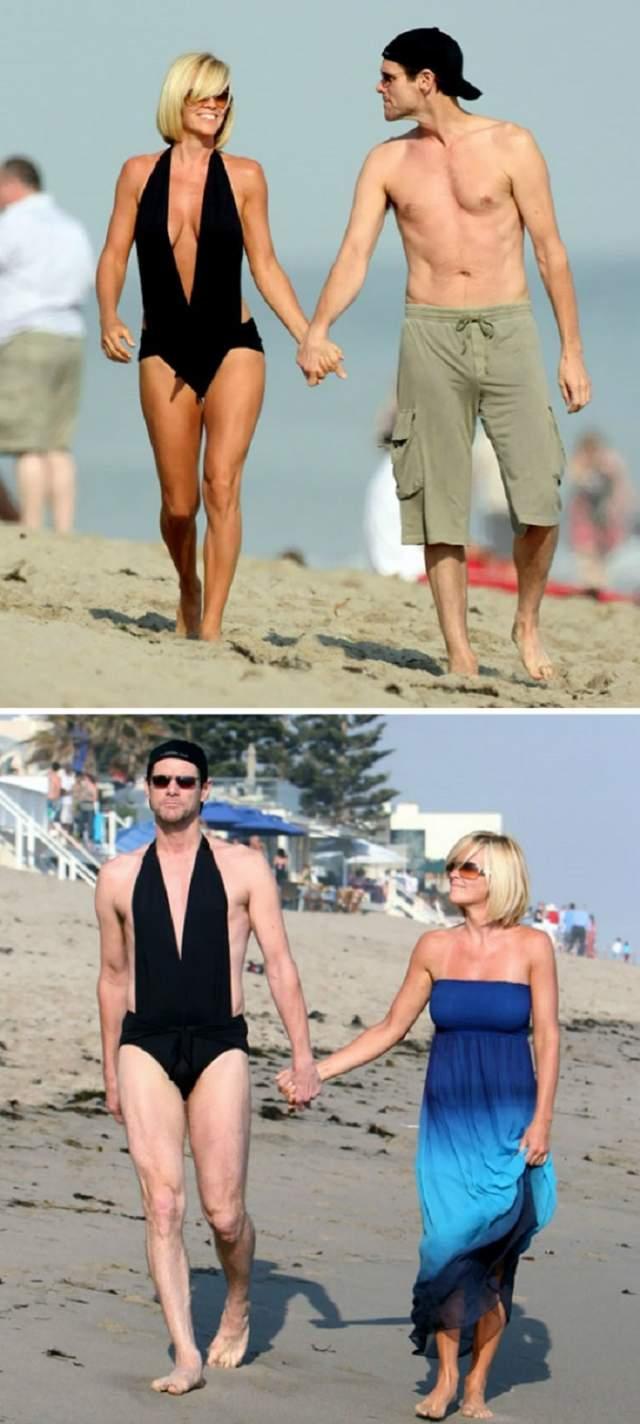 Джим Керри. Пусть поклонники выбирают, кому этот купальник больше идет - ему или его девушке.