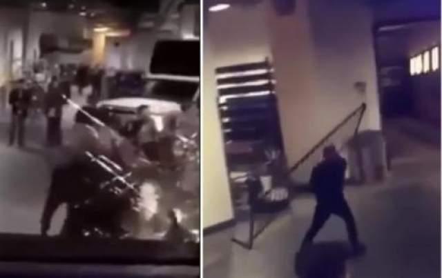 Конор Макгрегор напал на автобус с Нурмагомедовым Инцидент произошел на подземной парковке бруклинского спортивного комплекса Barclays Center после промомероприятий к очередному турниру UFC (абсолютного бойцовского чемпионата), который должен состояться завтра. Автобус с бойцами UFC выезжал с парковки, когда неожиданно появившийся там Макгрегор начал бросать в него тяжелые предметы, которые попадались под руку: тележки из супермаркета и велосипедные стойки. В результате в автобусе было разбито стекло, а несколько его пассажиров, включая бойцов Майкла Кьезу и Рея Боргу, были травмированы осколками и не смогут принять участие в планируемом на следующий день соревновании.