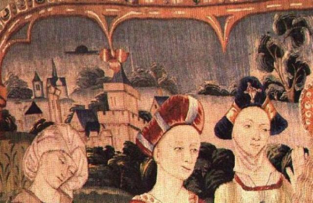 На фреске неизвестного автора можно заметить темный летающий диск в небе.