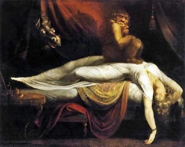«Кошмар» Картина «Кошмар» швейцарского живописца Генриха Фюзели была впервые показана на ежегодной выставке Королевской Академии в Лондоне в 1782 году, где она шокировала и посетителей, и критиков.