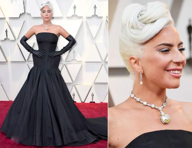"""В остальном образ звезды фильма """"Звезда родилась"""" получился гармоничным. А шика добавило ожерелье с уникальным желтым бриллиантом в 128 карат, принадлежащим ювелирной компании Tiffany & Co, в котором до нее ходила лишь Одри Хепберн в """"Завтраке у Тиффани""""."""