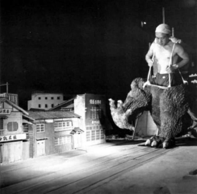 Годзилла Годзилла (вернее нижняя его часть) терроризирует японский городок.