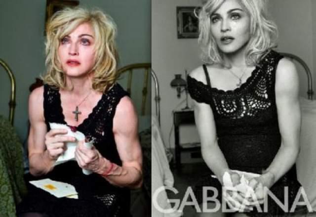 """Нестареющая"" Мадонна до и после фотошопа."