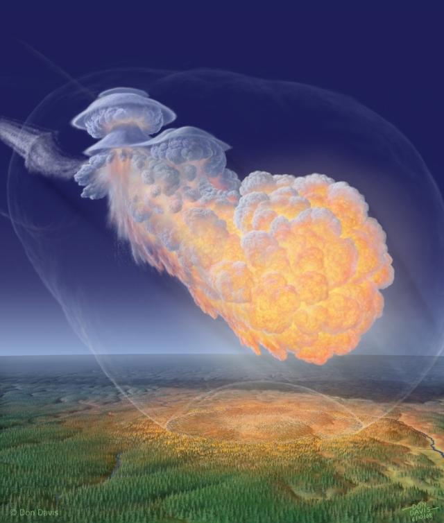 Владимир Епифанов и Вольфганг Кундт предположили, что тунгусское событие могло быть вызвано взрывом облака метана, выделившегося в результате вулканической активности (на изображении модель произошедшего) .