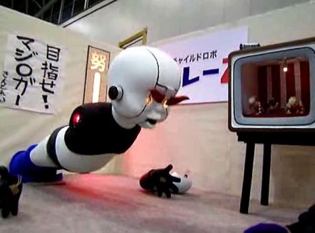 Этот робот умеет лишь отжиматься, причем через некоторое время интенсивных упражнений от упорства у Kintore-Z по очереди отваливаются руки, что не мешает ему продолжать отжимания.