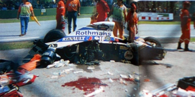 На 7-м круге, втором после ухода машины безопасности и рестарта гонки, машина Сенны сорвалась с трассы в повороте и на огромной скорости врезалась в бетонную стену.