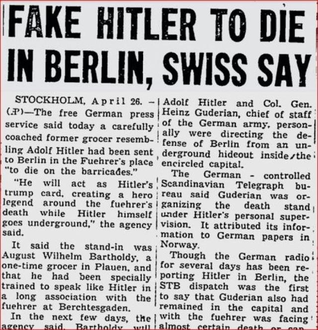 Слухи о том, что сам Адольф Гитлер жив, появились, практически сразу после его смерти. В кончине диктатора сомневались англичане, французы, американцы. Ходили упорные разговоры об удивительном спасении фюрера.