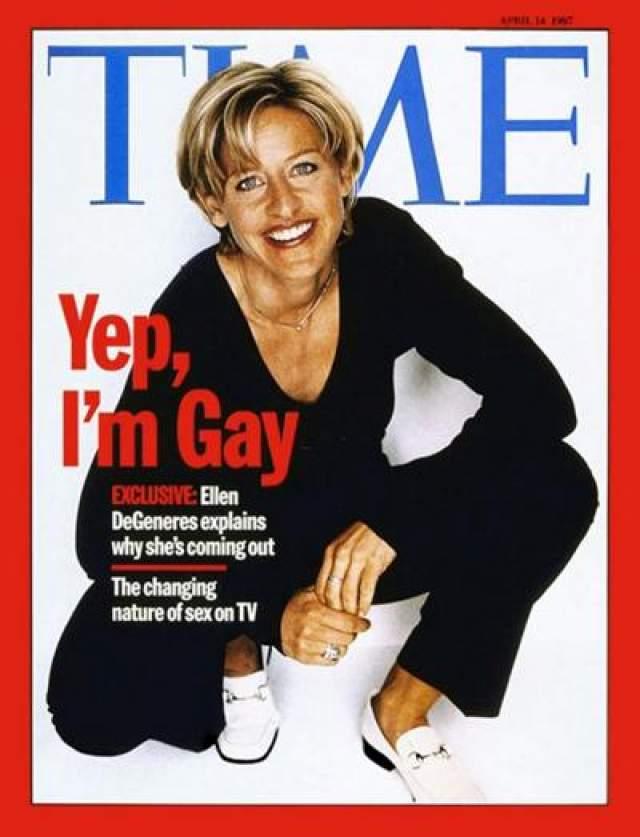"""14 апреля 1997 года увидел свет новый выпуск журнала """"Time"""", на обложке которого красовалась фотография известной американской телеведущей Эллен Дедженерес, а ниже - подпись: """"Ага, я лесбиянка""""."""