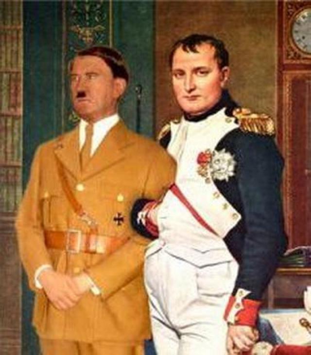 Наполеон проиграл войну в 1816 г. Гитлер проиграл войну в 1945 г. (разница 129 лет) Оба пришли к власти, когда им было по 44 года. Оба напали на Россию, когда им было по 52 года. Оба проиграли войну, когда им было по 56 лет.