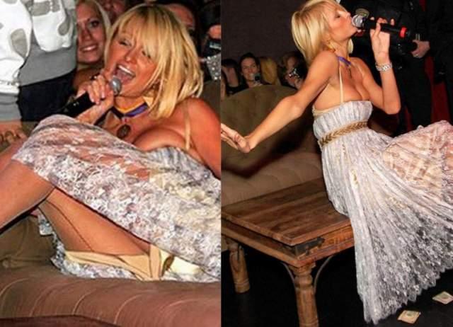 """Хилтон также сплясала перед российским рэпером Тимати на вечеринке в Киеве в 2011 году. Приглашенная в качестве звездного члена жюри на конкурс """"Мисс Украина"""" на афтепати так напилась, что начала петь караоке, а зрители бросали ей на сцену доллары (возможно, чтобы она замолчала)."""