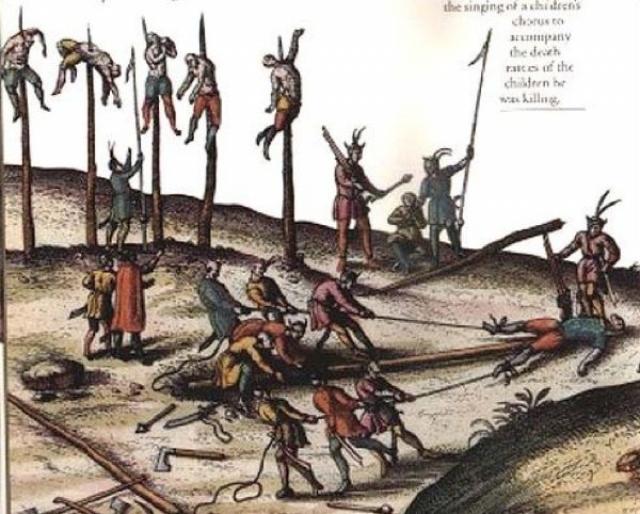 Сажание на кол. Этот вид мучительно казни стал известен благодаря знаменитому Владу Цепешу. Заточенный кол закапывали в землю вертикально, а затем помещали на него человека.