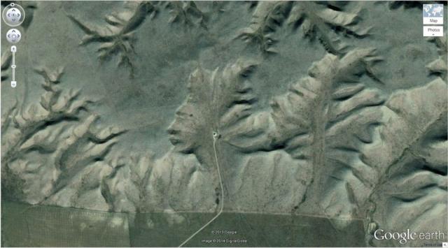 Человеческий профиль в горах Альберты, Канада