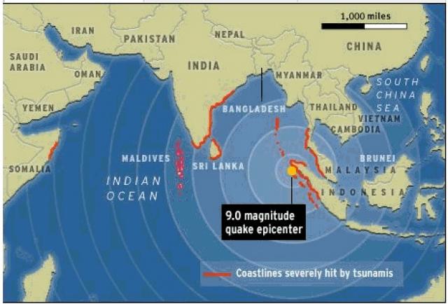 15:07 по местному времени (8 минут после толчка). Тихоокеанский центр наблюдения за цунами регистрирует толчки, но не придает значения их силе. Информация была передана в страны Юго-Восточной Азии - так утверждают представители организации. Судьба этих срочных сообщений неизвестна. Возможно, региональные власти просто не успели с ними ознакомиться.