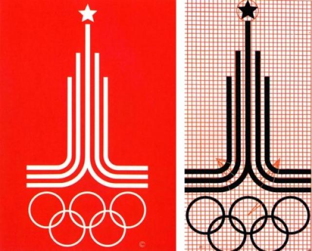 Автор эмблемы (пять олимпийских колец, переплетенных в основании, и устремленные вверх линии, символизирующие спортивные дорожки, со звездой вверху - стилизация Спасской башни Кремля) - В. Арсентьев, студент Строгановского училища.