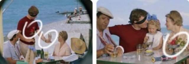 Бриллиантовая рука Два эскимо на палочке превращаются в мороженное в вазочках, а два цветочка - в букетик из трех.