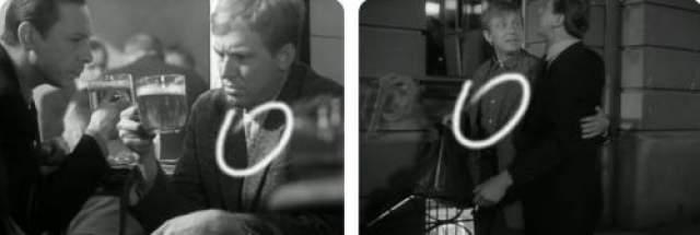 Посиделки главных героев фильма в пив-баре. Внутри бара Деточкин в светлой рубашке в клеточку, а вот снаружи бара он уже в рубашке темного цвета.