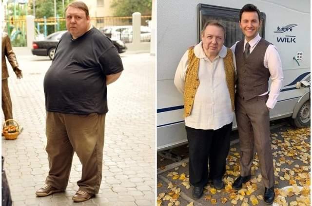Александр Семчев (40 кг) . Ранее весивший 200 кг 49-летний актер практически всю жизнь страдал от ожирения. И поклонники привыкли к такому виду артиста и любили его, несмотря ни на что. Но на днях он показал свежий снимок, где он стоит рядом с Вячеславом Манучаровым.