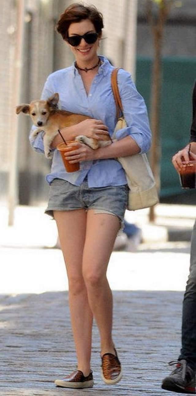 В семье Энн Хэтэуэй и ее мужа Адама Шульмана прибавление, 15 июня 2014 года. Они взяли к себе нового щенка. Анн и Адам на прогулке за покупками со своей собакой Эсмеральдой и новым щенком. Энн все время улыбалась и казалась очень счастливой. Она выглядела как гордая мать, и очень осторожно несла своего нового любимца, прижимая его к себе во время похода по магазинам.