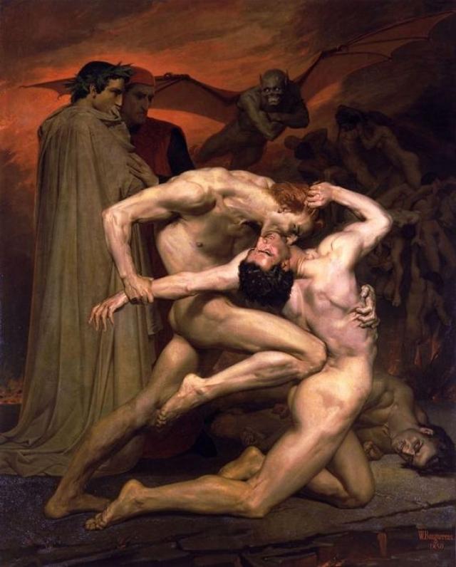 «Данте и Вергилий в аду» Картина Адольф Вильям Бугро «Данте и Вергилий в аду» была вдохновлена короткой сценой о битве между двумя проклятыми душами из «Ада» Данте.