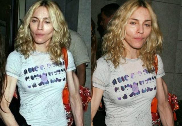 А вот Мадонну подвело либо освещение, либо неудачный ракурс. Так или иначе фото певицы облетело весь мир, а ее жилистые руки обсуждали еще долгое время.