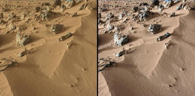 Песчаный нанос, со склона которого Curiosity брал пробы грунта. Слева мы видим необработанное изображение дюны, показывающее как она выглядит на Марсе, небо которого часто имеет красноватый оттенок вследствие большого количества пыли. Справа снимок обработан таким образом, чтобы показать, как тот же самый участок выглядел бы на Земле.