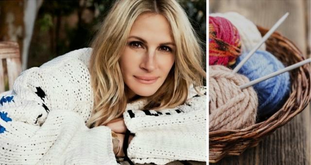 Красотка Джулия Робертс первая среди звезд начала вязать различные носочки, шапочки и свитера и шапочки.