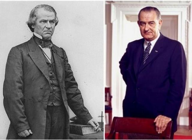 Преемник Линкольна после убийства — Джонсон. Преемник Кеннеди после убийства — Джонсон. Первый, Эндрю Джонсон родился в 1808 г. Второй, Линдон Джонсон родился в 1908 г. (разница 100 лет) На фото: Эндрю Джонсон и Линдон Джонсон