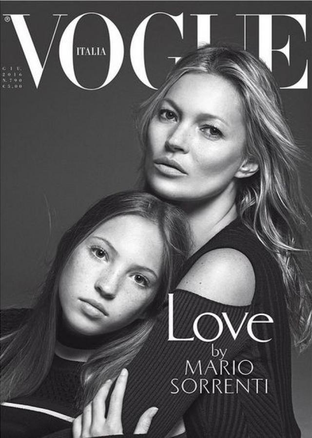 Кейт Мосс. В прошлом году супермодель приняла участие в фотосессии для обложки итальянской версии журнала Vogue вместе со своей дочерью - 13-летней Лилой Грейс.