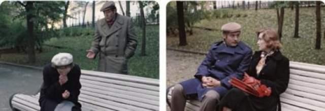 По сюжету фильма между этими сценами прошло много лет, но скамейка и растительность в парке нисколько не изменились.