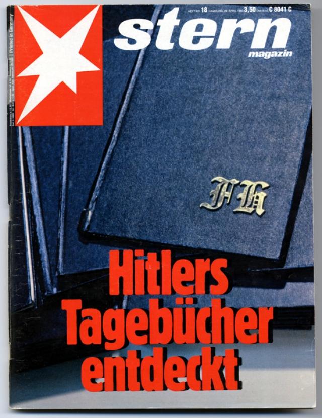 """Дневники Гитлера. Фальшивка 1980-х годов, которая успешно прошла ряд первоначальных проверок и была куплена за 9 миллионов западногерманских марок у антиквара из Штутгарта Конрада Куяу и опубликована журналом """"Штерн""""."""