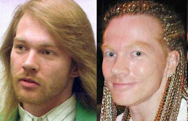 """Весьма неожиданными стали фото вернувшегося """"в дело"""" Эксла Роуза , вокалиста группы Guns'n'Roses в 2000-х."""
