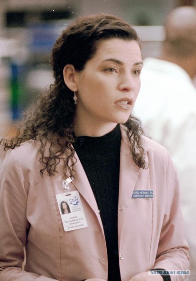 """""""Скорая помощь"""". Джулианна Маргулис . Исполyение роли медсестры Кэрол актриса совмещала со съемками в кино, и в 2000 году расторгла контракт, занявшись другими проектами."""