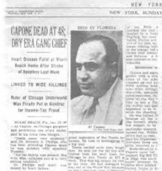Умер Аль Капоне 25 января 1947 года от перенесенного инфаркта и воспаления легких. Перед смертью, как и полагается католику, он успел причаститься.