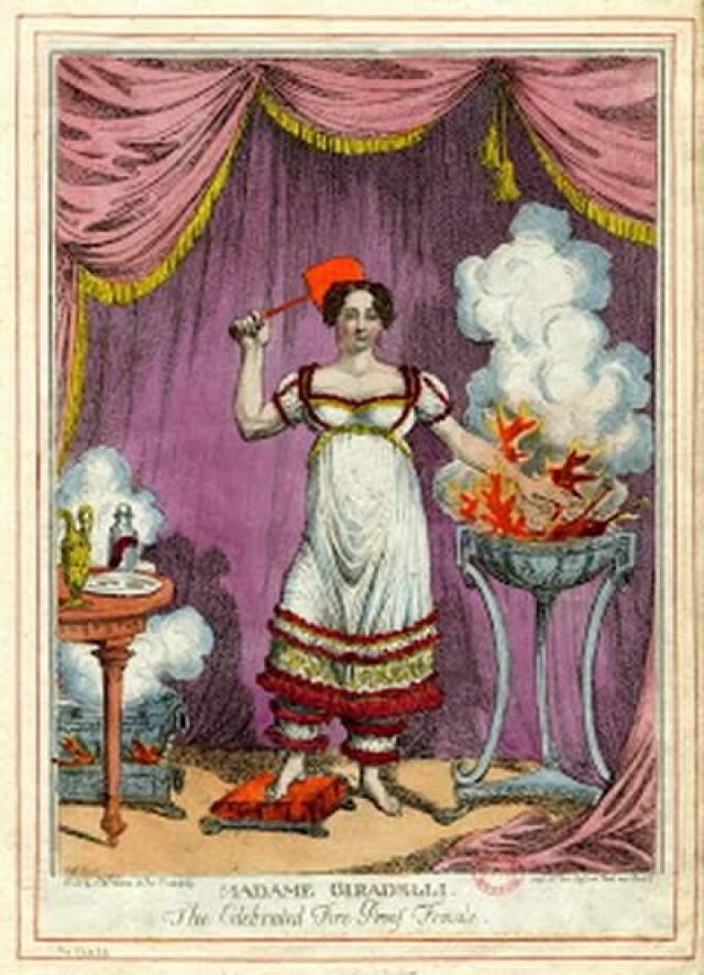 """Джо Жирардели В начале 1800-х годов Джо была крайне необычным """"явлением"""". Она открыла людям другое понимание огня. Жирарделли могла глотать раскаленные предметы, и это не вызвало у нее боли и не причиняло вреда. Присутствовавшие на ее выступлениях люди были поражены происходящим на их глазах."""