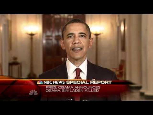 """"""" Небольшая группа американцев провела операцию с необыкновенным мужеством и профессионализмом. Американцы не пострадали. Они также позаботились о том, чтобы избежать жертв среди гражданского населения. После перестрелки они убили Усаму бен Ладена и подобрали его тело, """" - заявил Обама."""