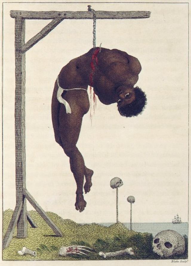 """""""Подвешенный живой негр"""", Уильям Блейк. Еще одно ужасное творение художника изображает раба-негра, который был повешен на виселицу с помощью крючка, продетого через его ребра."""