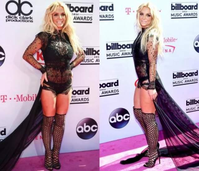 А в 2016 году на церемонии вручения музыкальных наград Billboard Music Awards Бритни пришла и вовсе без юбки - в нижнем белье и в высоких чулках, за что была внесена в список звезд в самых безвкусных нарядах.