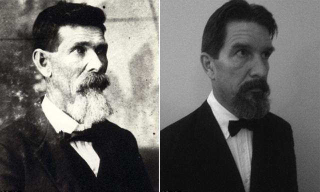 Внук (справа) для большего сходства даже скопировал бороду и стиль деда.
